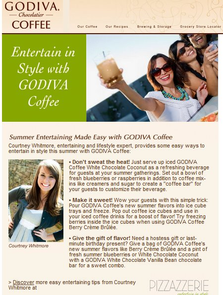coutney whitmore for godiva coffee